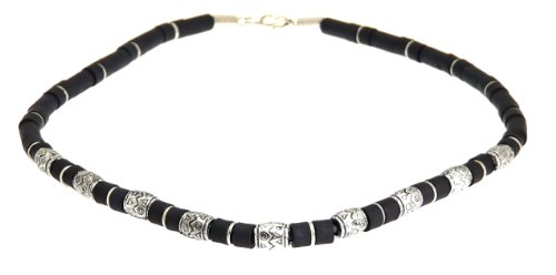 - Surf Surfer Black & Silver Colour Bead Beads Necklace Choker - Style C