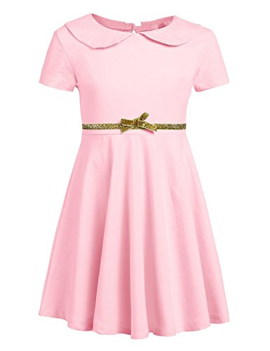 Arshiner Girls Short Sleeve Doll Collar Dress Solid Color A Line Peter Pan Collar Cotton Dress,A-misty Rose,120(Age for 6-7 years)