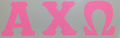 Alpha Chi Omega Sorority Bubble Gum Pink Glitter Letter Sticker Decal Greek 2 Inches Tall for Window Laptop Computer Car AXO