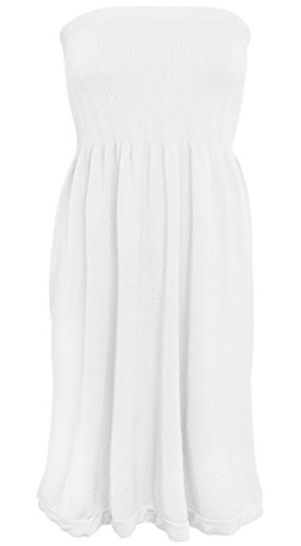 KMystic Women's Summer Tube Top Mini Dress - Strapless Summer White Dress