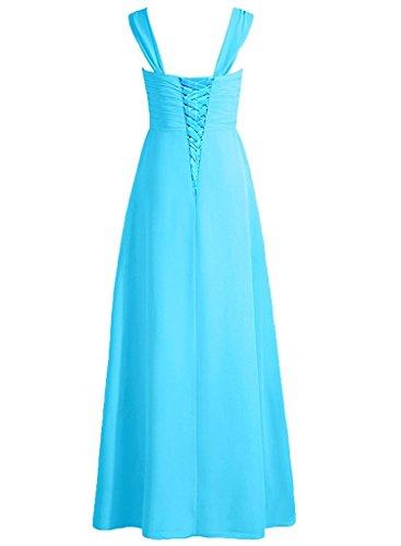 damigella Lungo Blu da Vestito da sera Vestito partito PRTS da Abiti ballo Elegante Abito da Chiffon ZxTIBq