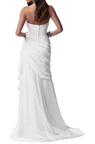 Partykleider La Chiffon Sexy Beige Weiß Brautjungfernkleider mia Traegerlos Elegant Schlitz Braut Abendkleider rRYnRfw7q
