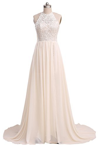 Ruolai Lace Chiffon High Slit Beach Wedding Dress Simple Bridal Dresses LC-Ivory 8 (Destination Gown)