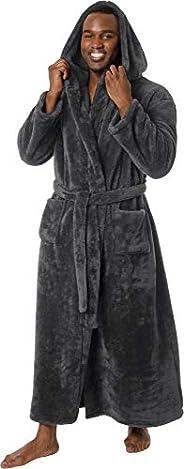 Ross Michaels Mens Luxury 400gsm Hooded Long Robe - Full Length Plush Big & Tall Bath
