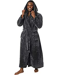 Mens Luxury 400gsm Hooded Long Robe - Full Length Plush Big   Tall Bathrobe fec6b7b72