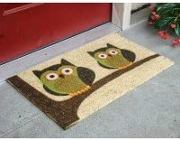 Kempf Twin Owls Coco Doormat Rubber Backed, 18 by 30 by 0.5-Inch