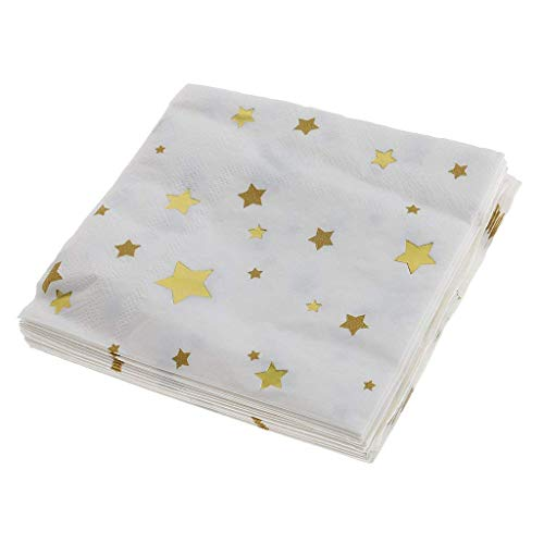 20pcs Paper Napkins Disposable Party Serviettes Tableware with Star Pattern Double-layer Printing Napkins Kids Party Supplies - Gold -