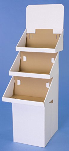 Displays2go 3-Tier Display for Floor 65.75-Inch H Dump Bin Corrugated Cardboard, White