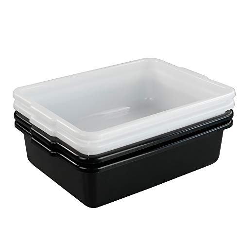 Begale 4-Pack Small Wash Basin Commercial Tote Box, Utility Bus Tubs