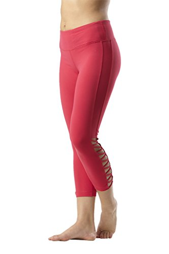 90 Degree By Reflex Womens Side Cut Out Capris - Rubine Red - XS ()