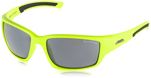 Alpina Ambition Keekor Lunettes de Cyclisme Mixte, Neon Green-Black/Green Mirror Jaune Fluo/Noir