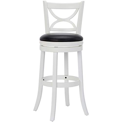 Ball Cast Jayden Hardwood Bar-Height Swivel Bar Stool with Faux-Leather Upholstery, 29-Inch, Farmhouse White
