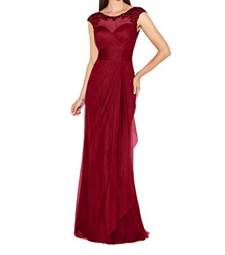 Etuikleider Spitze Dunkel Brautmutterkleider Hundkragen Chiffon Charmant Abendkleider Kleider Promkleider Lang Damen Rot 4qYnwB