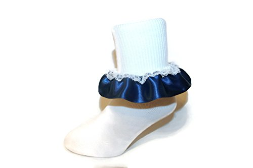 Girls Ruffle Ankle Socks with Satin & Lace in Assorted Colors (5-6.5 Toddler, Navy -