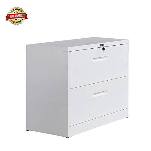 MIERES File Cabinet Modern Luxe Lockable Heavy Duty Metal Two Lateral (White, 2-Drawer, New