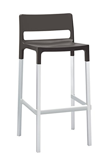 Parada One Design 2210 Divo Indoor/Outdoor Stackable Bar Stool with Techno Polymer Seat Reinforced with Fiberglass, Anthracite - Glasses Parada
