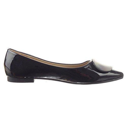 Sopily Scarpe da Moda ballerina alla caviglia donna lucide Tacco a blocco 1 CM - Nero