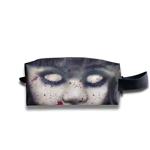 Halloween Zombie Doll Horror Evil Scary Face Multi-Function Key Purse Coin Cash Pencil Travel Makeup Toiletry Bag Box Case ()