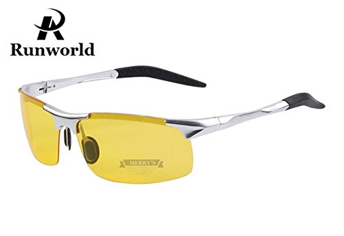 Runworld Mens HD Night View Night Vision Anti-glare Non-polarized & Polarized Wayfarer Avaitor Rimless Wraparound Wrap around Driver's Yellow Driving Glasses Sunglasses Goggles - Avaitor Sunglasses