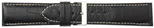 Men's 20mm Black Genuine Alligator Leather Watch Strap