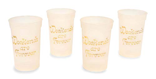 ban.do Reusable Plastic Party Cups, Set of 4, 16 Ounces, Weekends are Forever (Color Changing)