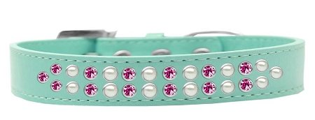 Mirage Pet Products Two Row Pearl and Pink Crystal Aqua Dog Collar, Size 18 by Mirage Pet Products