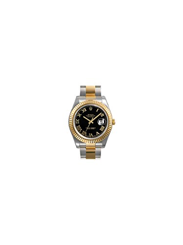 Rolex Datejust II Black Roman Dial 18k Yellow Gold Fluted Bezel Two Tone Oyster Bracelet Mens Watch 116333BKRO