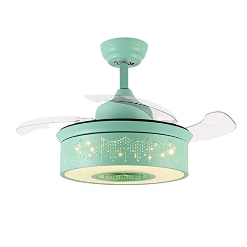Invisible Fan Light, Children's Room Mute with Remote Control Ceiling Fan Light Simple Creative with Led Bedroom Dining Room Chandelier (Color : Green)