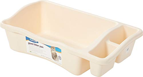 Petmate Giant Litter Pan Cat Litter Box with Side Storage Bleached Linen (Litter Pan Giant)