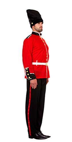 [Global Fashion Men's Busby Royal Guard Fancy Traditional British Soldier Costume Large Black] (Royal Guards Costume)