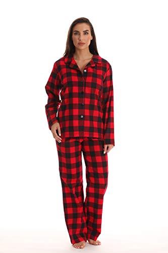 #followme 6371-10195-XL Printed Flannel Button Front PJ Pant Set