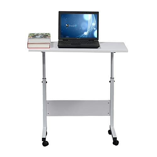 Side Table,Rolling Lap Desk Tray Stand Desktop Computer Table Adjustable Lazy Table Dining Table u Shaped Desk Breakfast TV Tray for Bed Sofa White