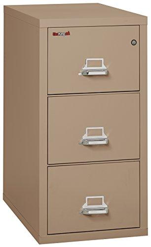 Taupe Vertical File Cabinet (Fireking Fireproof Vertical File Cabinet (3 Legal Sized Drawers, Impact Resistant, Waterproof), 40.25