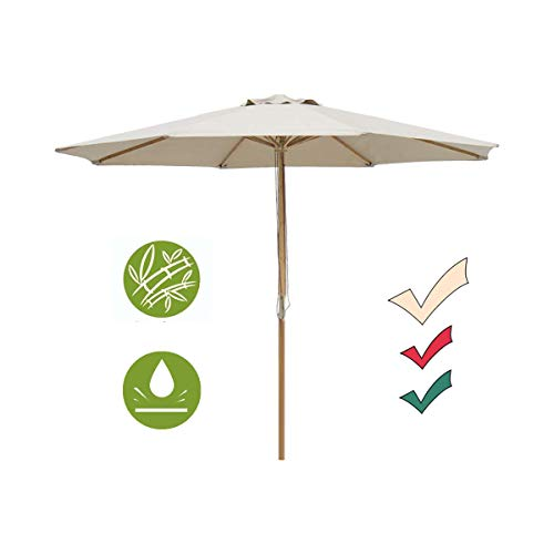SUNNYARD 9 Ft Wood Patio Umbrella Bamboo Market Umbrella Outdoor Table Umbrella with Pulley Lift, 8 Ribs,Taupe