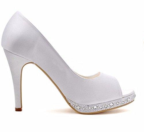Pour Blanc 36 White Femme MinitooUK Sandales Heel 10cm Minitoo 5 MZ8240 UxqPXct