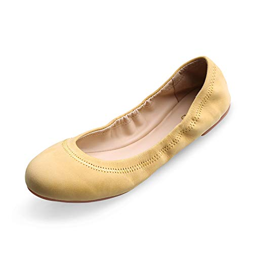 Xielong Women's Chaste Ballet Flat Lambskin Loafers Casual Ladies Shoes Leather Yellow ()