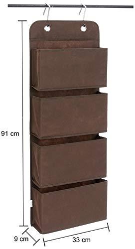 Amazon Brand – Solimo Fabric Hanging Shelf Organiser, Brown