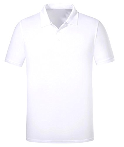 Zimaes-Men Original Fit Summer Daily Mercerized Cotton Polo Shirt White XL