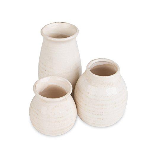 White Water Jug, Farmhouse Kitchen Decor, London Home Decor Set of 3 Jugs, Flower Vase, Ceramic Vase, Decorative Kitchen Decor - 3 Sizes (Accents Ceramic Vase)