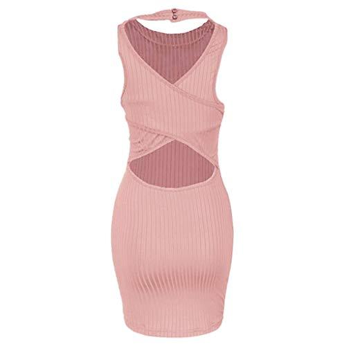Cuello mini Grande Fiesta Xl Color Corta Ajustado Talla Rosa Vestido De Vestidos Mujer Sólido Esailq Redondo 5xl qAXUdwU