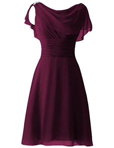 Robes De Demoiselle D'honneur En Mousseline De Soie De Femmes Cdress Court De Paillettes Mancherons Bal Raisin De Robes Formelles