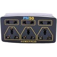 Vishal Enterprise Multi-Plug 3Pin X 3 Plus 2-Pin X 3 (Black, Small)