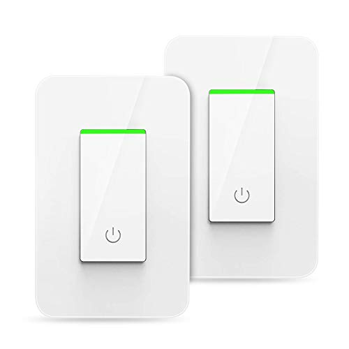 VegaHome Smart Light Switch, Remote Control Wi-Fi Light Switch with Timer, 15A Wireless In-wall Light Switch, Works with Alexa/Google Assistant/IFTTT, No Hub Required, ETL & FCC Listed, White, 2 Pack
