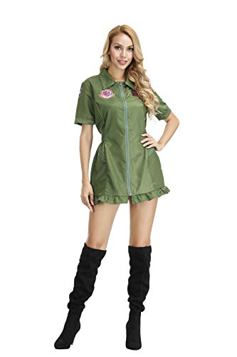 Women's Air Force Romper Flight Suit Pilot Dress Aviator Adult Costume Army Jumpsuit Military Costume Green-XL]()