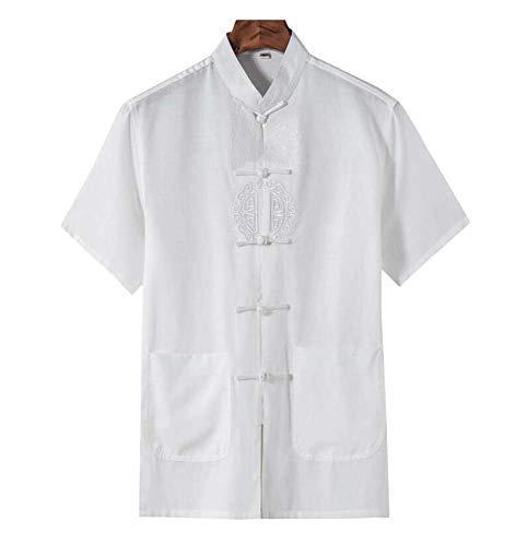 Chinesisches Kung-Fu-Hemd Tang-Anzug Lässiges Kurzarm-T-Shirt für Männer, WEISS