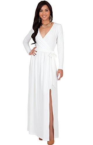 KOH KOH Womens Long Sleeve V-Neck Cross Over High Slit Cocktail Evening Gown Maxi Dress – Small, White