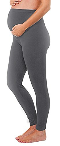 - 2 Pack Gift Set - Stretch Maternity Leggings Seamless Solid Color Nursing Clothes Tights (Grey, ONE SIZE FITS ALL (MATERNITY)) by Shop Pretty Girl (Image #1)