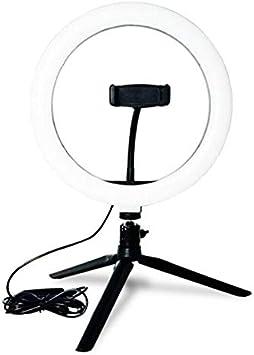 Icegrape - Lámpara LED de 26 cm con anillo de luz para selfies, trípode de estudio para teléfono, brillo y ángulo ajustables