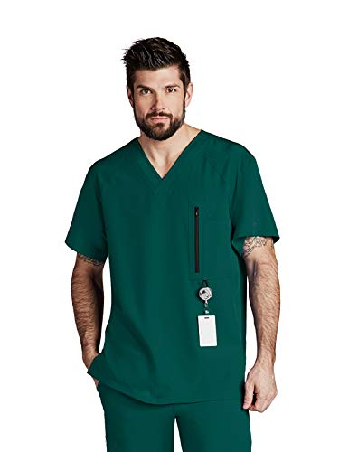 Barco One 0115 Men's 5 Pocket Raglan V-Neck Scrub Top Hunter Green M