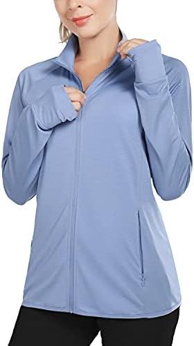 BALEAF Women's Long Sleeve Shirts UPF 50+ Zip Pockets Lightweight Sun Shirts Full Zip Outdoor Jackets